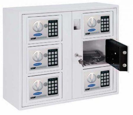 Comsafe – Értékmegőrző fémszekrény  elektronikus számzárral és 6 rekeszes tárolóval