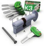 K3 - P  forgatógombos zárbetétek